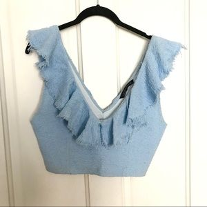 Woven Crop Top with Ruffle